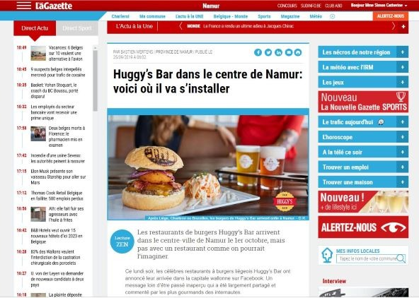 La Nouvelle Gazette - The Huggy's Bar Namur